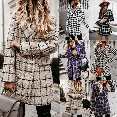 Long Sleeve Suit Collar Double Breasted Woolen Coat NHWA271550's discount tags