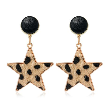 fashion metal five-pointed star leopard pattern earrings NHSC272480's discount tags