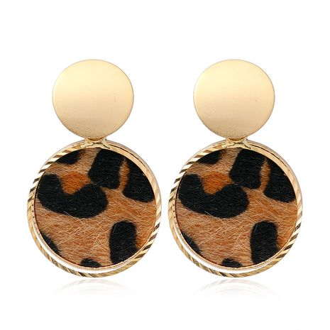 fashion metal simple round leopard pattern earrings NHSC272477's discount tags