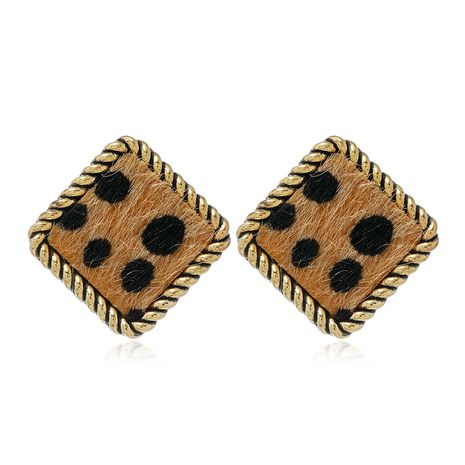 fashion metal retro round leopard print earrings NHSC272472's discount tags
