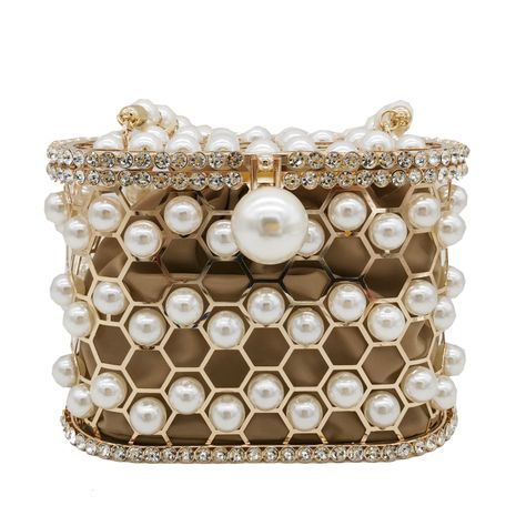 metal frame bucket bag pearl wrist handbag NHJU271577's discount tags