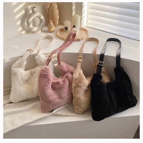 Nouveau sac carré en fourrure de messager à une épaule pour femmes de grande capacité NHLH271586's discount tags