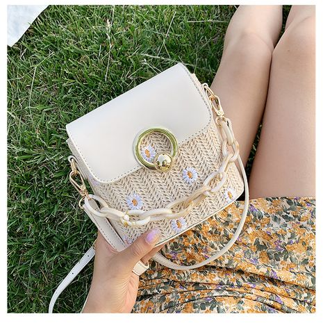 new trendy woven shoulder messenger simple and fashionable bucket bag NHTC271708's discount tags