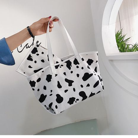 Large-capacity women's new trendy casual canvas shoulder fashionable portable tote bag NHTC271727's discount tags