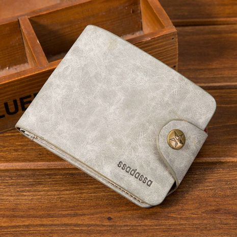 Korean short PU leather soft surface buckle retro wallet  NHBN271745's discount tags