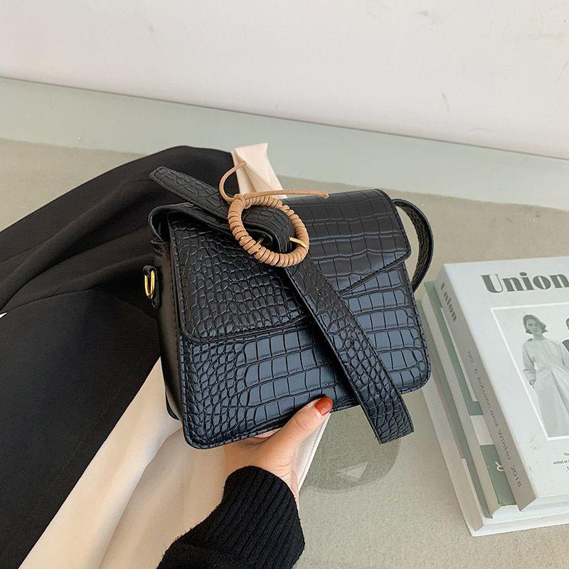 Fashion womens new crocodile pattern one shoulder messenger small square bag NHJZ271766