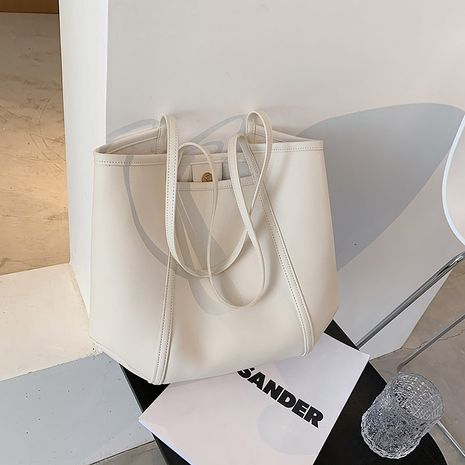 nouveau fourre-tout de couleur unie sac à bandoulière souple rétro de grande capacité NHJZ271810's discount tags