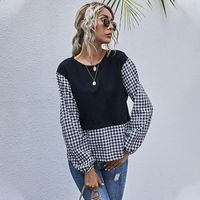 new  women's casual lace stitching long-sleeved  tops NHDF271848