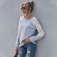 autumn color  Lace stitching sweater women's top NHAM272035