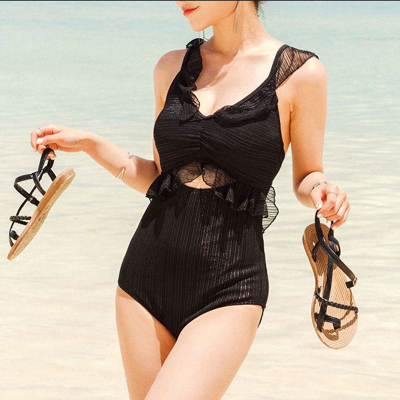 new fashion slim black ruffled backless sexy onepiece swimsuit  NHHL271890
