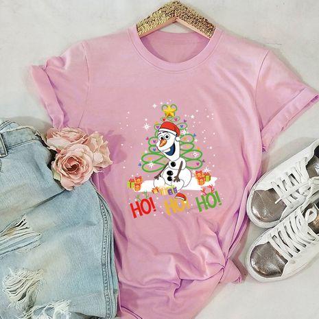 t-shirt à manches courtes pour femme Merry Christmas Christmas bonhomme de neige imprimé NHSN271953's discount tags