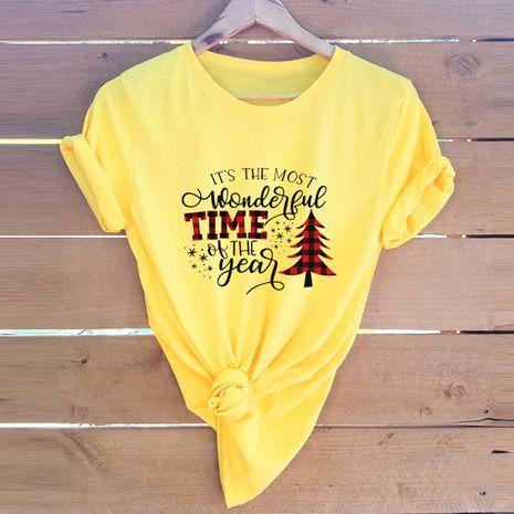 haut pour femme t-shirt manches courtes en coton imprimé Noël NHSN271964's discount tags
