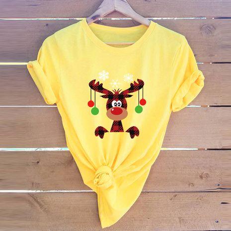 t-shirt à manches courtes pour femme Merry Christmas Christmas Elk Snowflake NHSN271965's discount tags