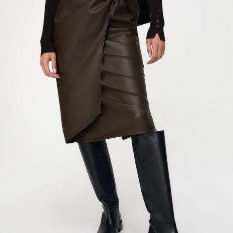 bow embellished faux leather skirt  NHAM271991