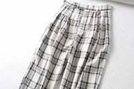 new high waist loose straight leg pants women retro plaid drape wide leg pants NHAM272012