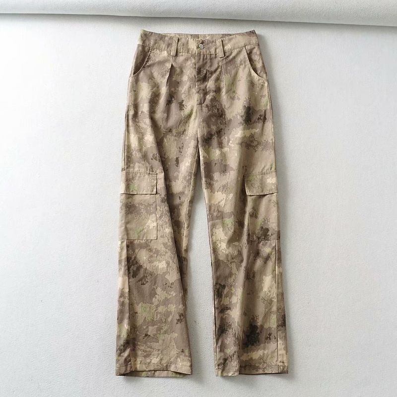 camouflage pants women tie-dye printing women street pocket casual pants  NHAM272013