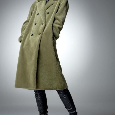 long faux fur effect double-breasted women's overcoat jacket  NHAM272025's discount tags