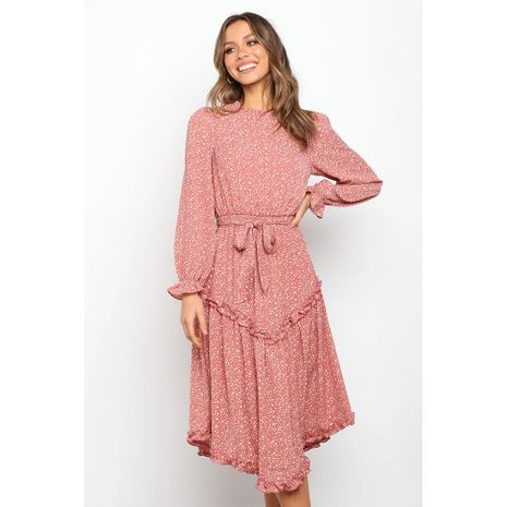 new floral Slim all-match lace-up long-sleeved dress NHJG273552's discount tags