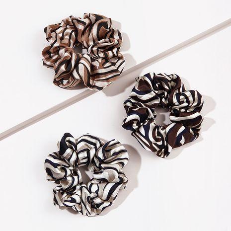 Motif zèbre gros intestin simple corde à cheveux de couleur unie en satin doux NHGE272100's discount tags