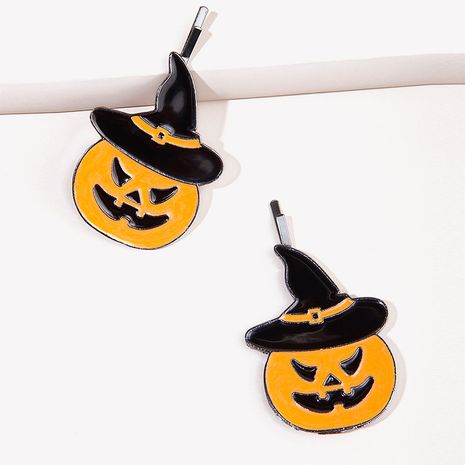 Halloween pumpkin lantern spider bat metal hairpin  NHGE272104's discount tags