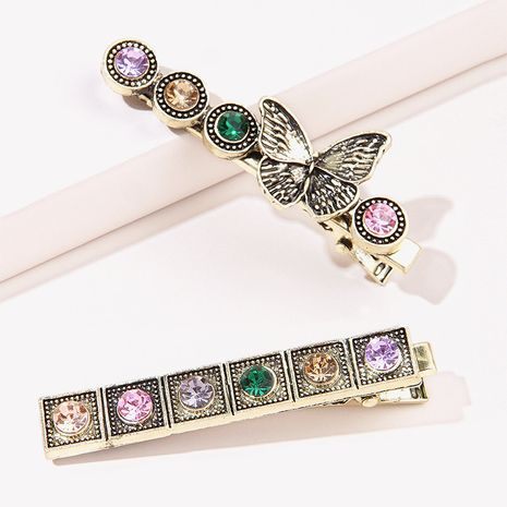Korean retro flash rhinestone colorful diamond metal hairpin  NHGE272108's discount tags