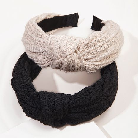 wool knotted hairband knitting retro twist  simple  headband NHGE272115's discount tags