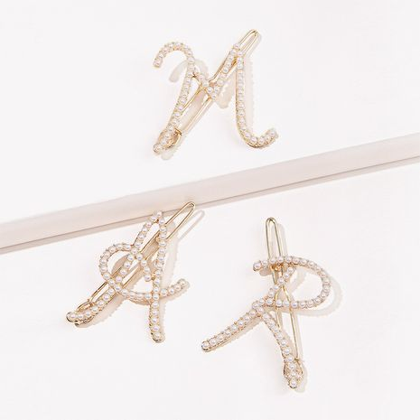 Korean pearl simple letter hairpin  NHGE272121's discount tags