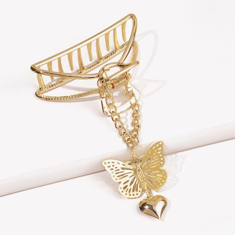 Metal three-dimension catching clip butterfly heart pendant hairpin NHGE272126's discount tags