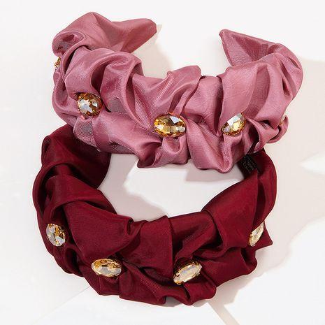 new diamond-studded fold fabric wide-edge rhinestone headband NHGE272130's discount tags