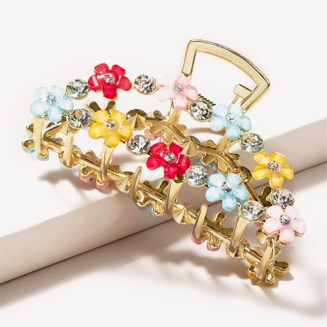 simple metal large catch clip color flower rhinestone hairpin  NHGE272170's discount tags