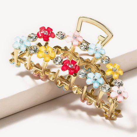 horquilla de diamantes de imitación de flores de color de clip de captura grande de metal simple NHGE272170's discount tags