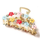 simple metal large catch clip color flower rhinestone hairpin  NHGE272170
