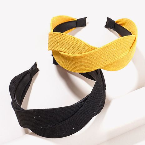 Korean  simple solid color fabric  fashion cross braided twist hairband  NHGE272181's discount tags