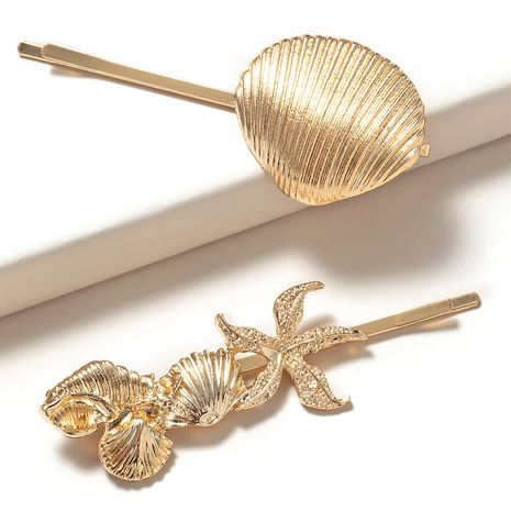 nouvelle épingle à cheveux coquille métallique irrégulière NHGE272192's discount tags