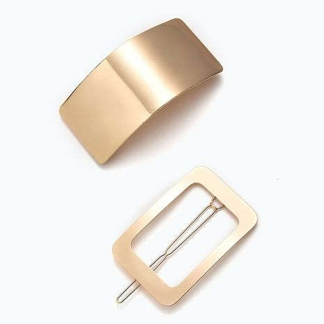brushed metal hairpin back head lazy geometric  clip  NHGE272203's discount tags