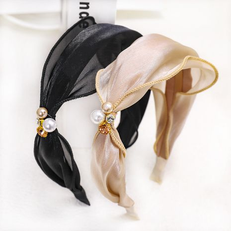 bright silk fabric rhinestone pearl  knot headband  NHOU272215's discount tags