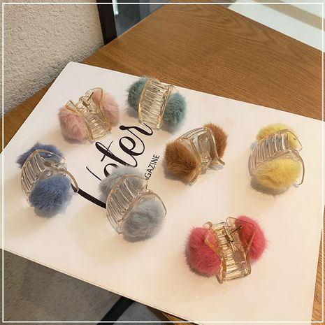 Korean sweet triangle small colorful fur ball hairpin  NHOF272235's discount tags