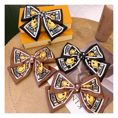 Korea  Printing Houndstooth Smiley Big Bow Fashion  Clip  NHHD272258's discount tags