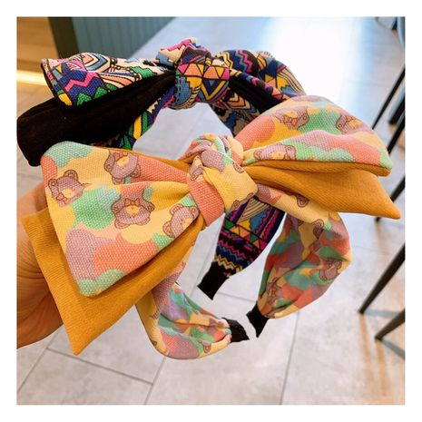 Korea's  fashion wide-brim check ethnic  bow headband  NHHD272266's discount tags