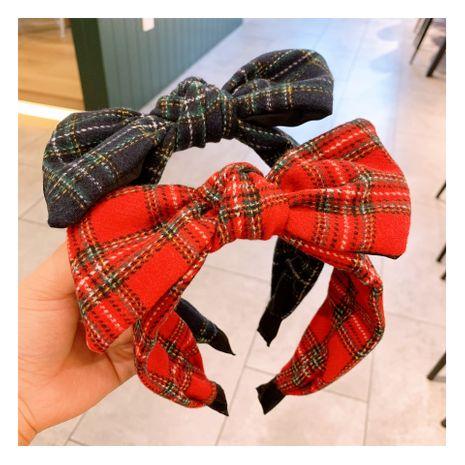 Korea  new cashmere plaid bow headband  NHHD272270's discount tags