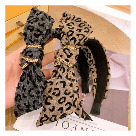 new  retro cashmere wool leopard pattern wild bow headband  NHHD272277's discount tags