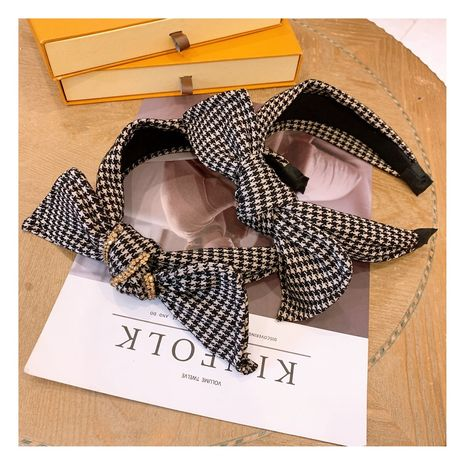 Korean  retro rhinestone houndstooth bow wild wide version  headband  NHHD272278's discount tags