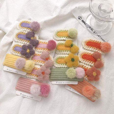 Hand-woven wool  plush ball hairpin  NHNA272287's discount tags