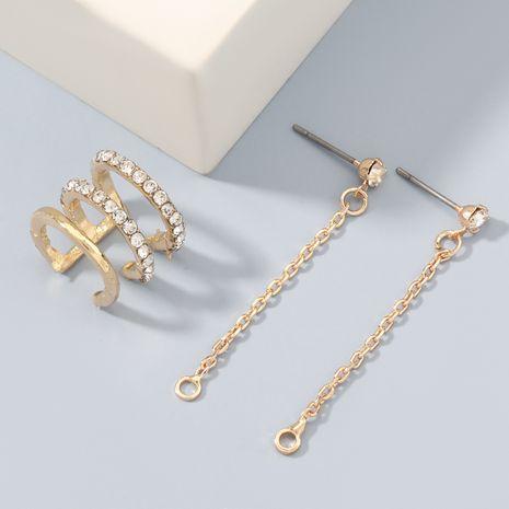 Boucles d'oreilles trois pièces asymétriques non percées en alliage acrylique haut de gamme cloutées de diamants NHJE272302's discount tags