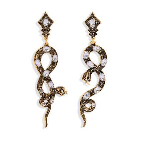 Pendientes de pitón de perlas con incrustaciones de serpiente exagerada vendedora caliente NHJQ272341's discount tags