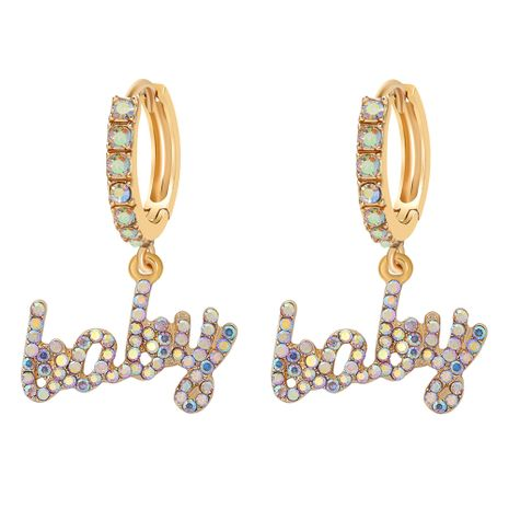 fashion simple letter rhinestone earrings NHJQ272351's discount tags