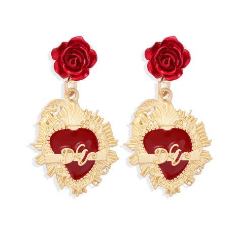 pendientes exagerados de borlas largas de pétalos de rosa roja NHJQ272357's discount tags