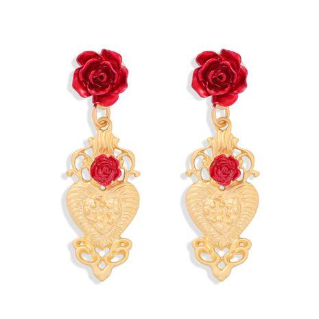 Pendientes de flor de corazón de melocotón barroco estilo palacio de oro retro de aleación rosa de moda NHJQ272358's discount tags