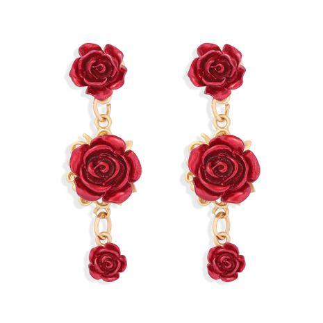 pendientes de flores exagerados simples con borla de pétalos de rosa largos retro NHJQ272359's discount tags
