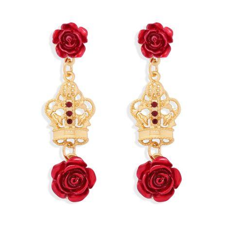 Pendientes de borla de flor simple de rosa roja de corona hueca bohemia al por mayor NHJQ272361's discount tags